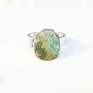 Natural green turquoise silver-plated ring